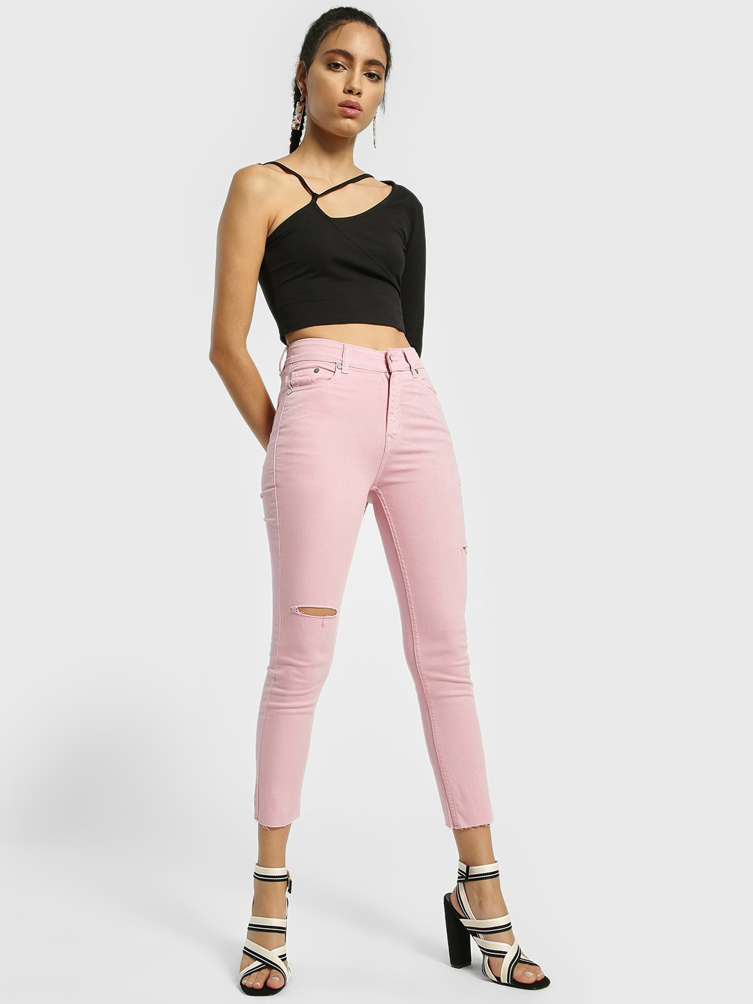 K Denim Pink KOOVS Thigh Split Cropped Skinny Jeans 1