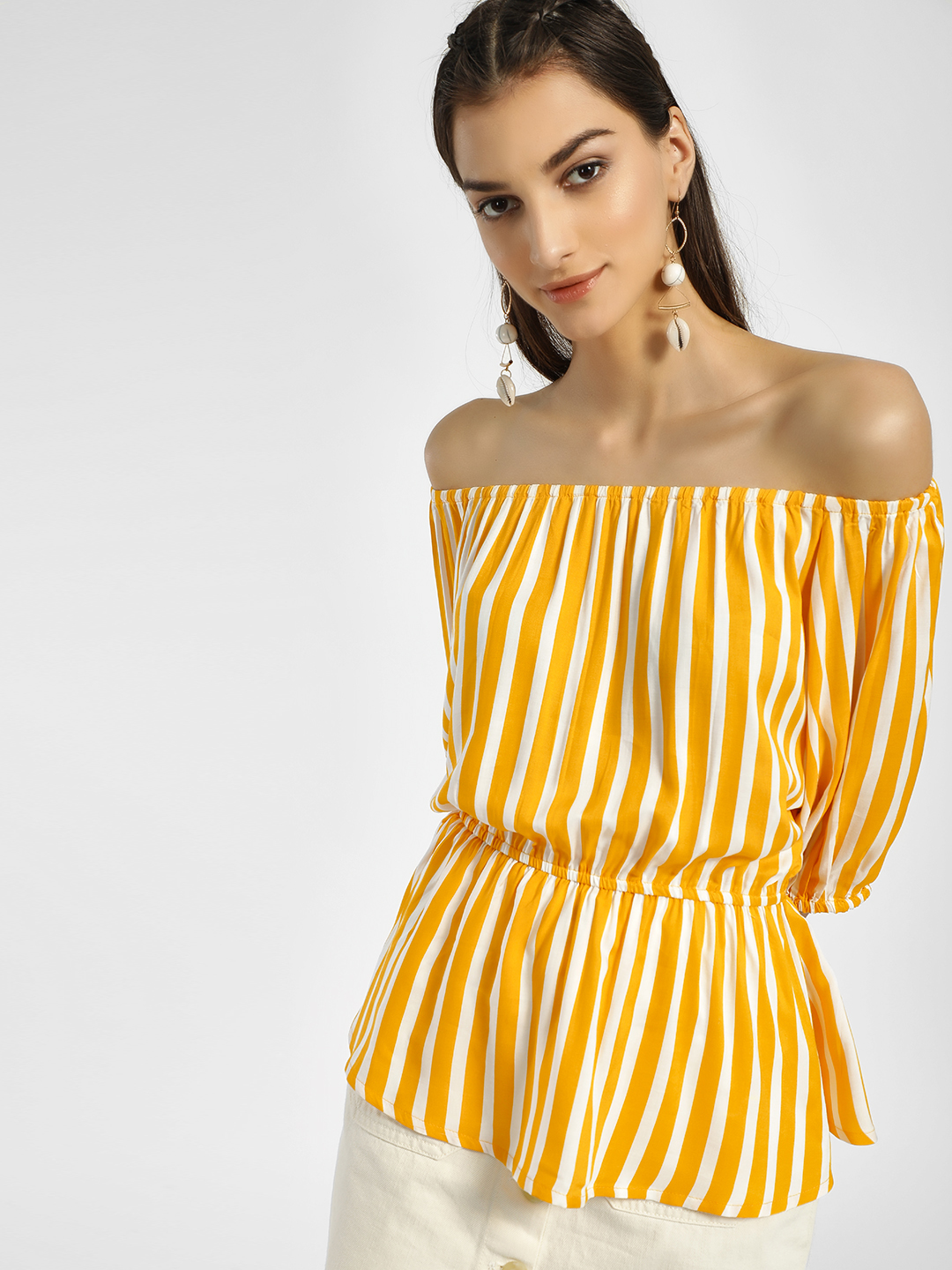 Miaminx Yellow Vertical Stripes Off-Shoulder Top 1