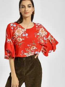 Miaminx Floral Print Oversized Blouse
