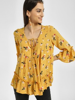 Miaminx Floral Print Front Tie-Up Blouse
