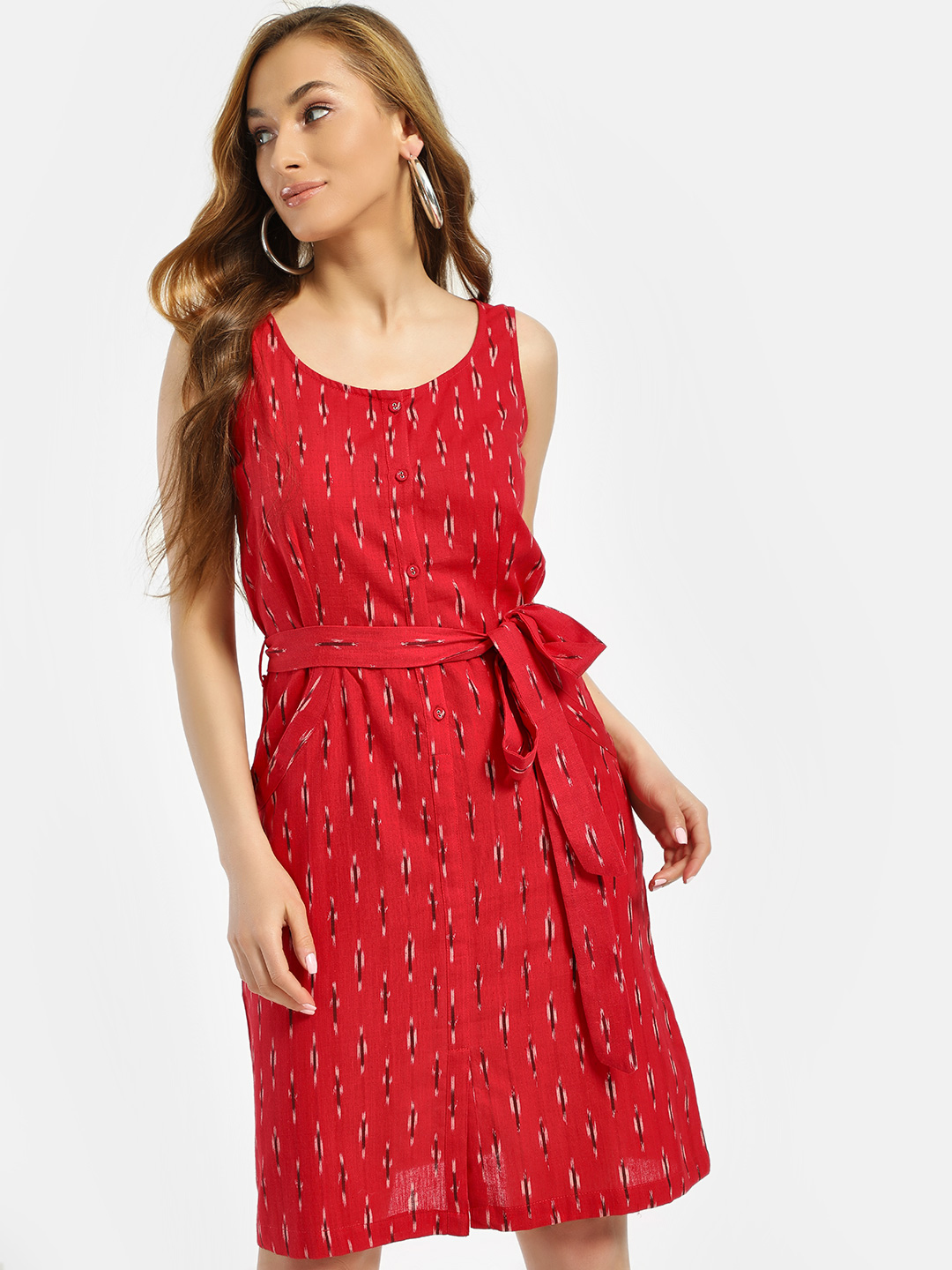 Miaminx Red Ikkat Front Knot Shift Dress 1