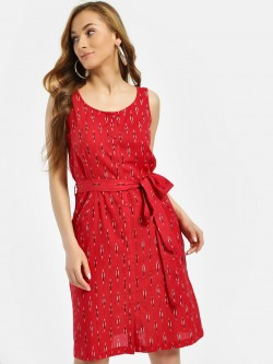 Miaminx Ikkat Front Knot Shift Dress