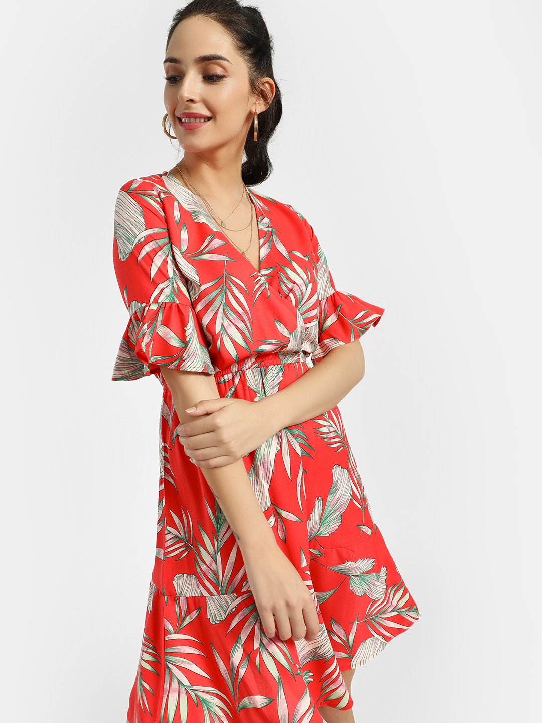 Miaminx Red Tropical Print Skater Dress 1