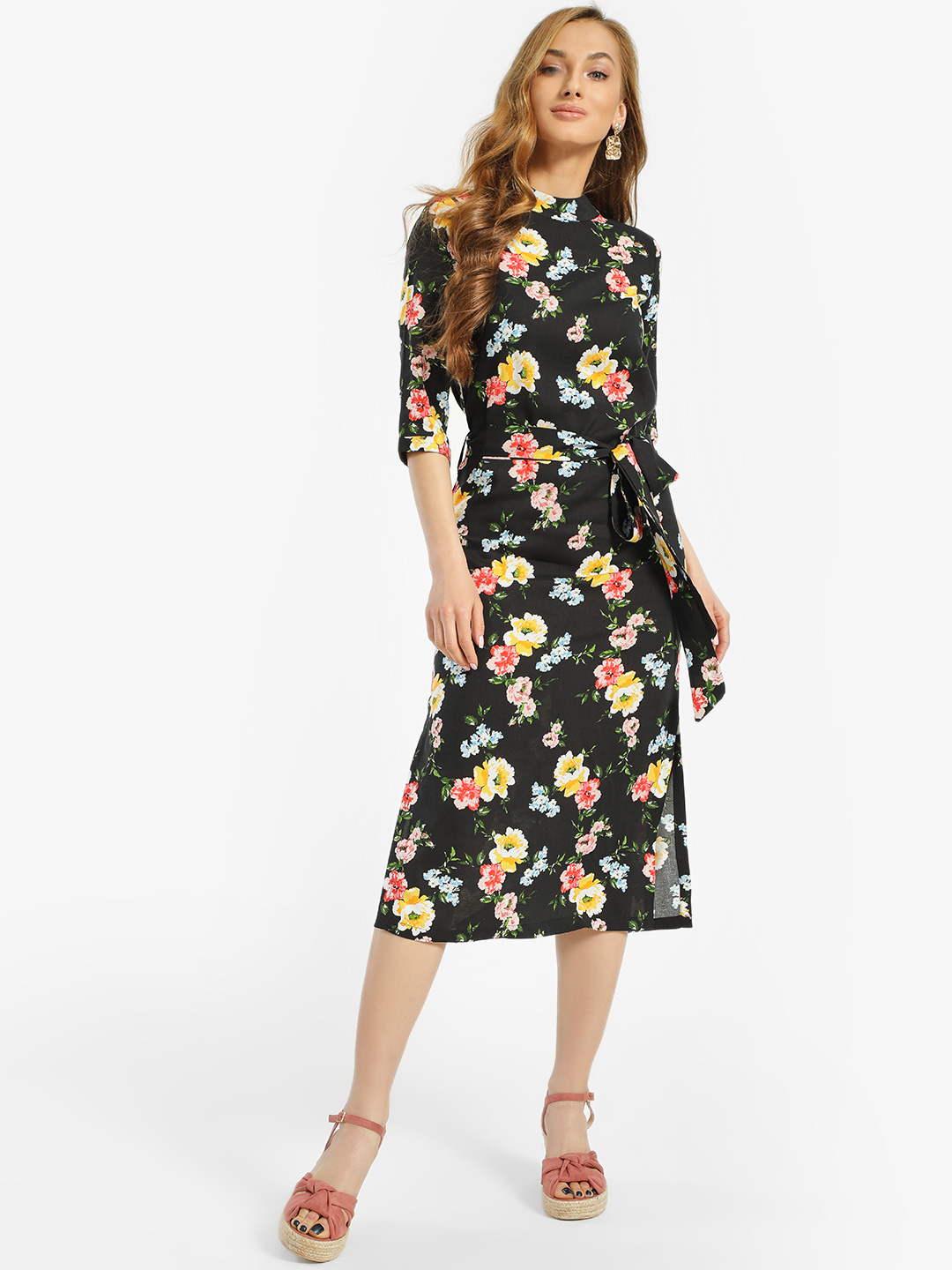 Miaminx Black Floral Print Tie-Knot Midi Dress 1
