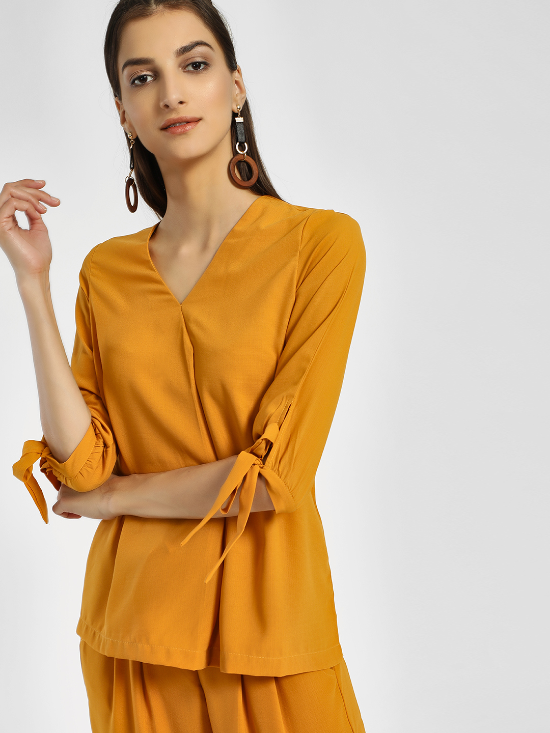Miaminx Yellow V-Neck Sleeve Tie-Knot Blouse 1