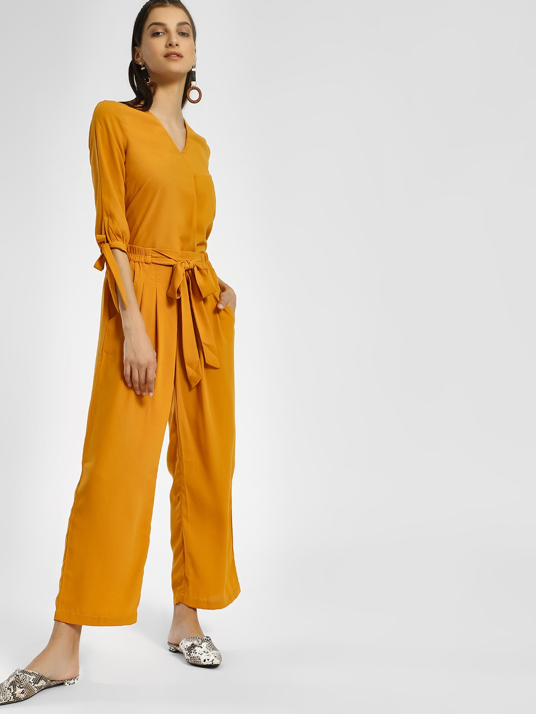 Miaminx Yellow Front Tie-Up Trousers 1