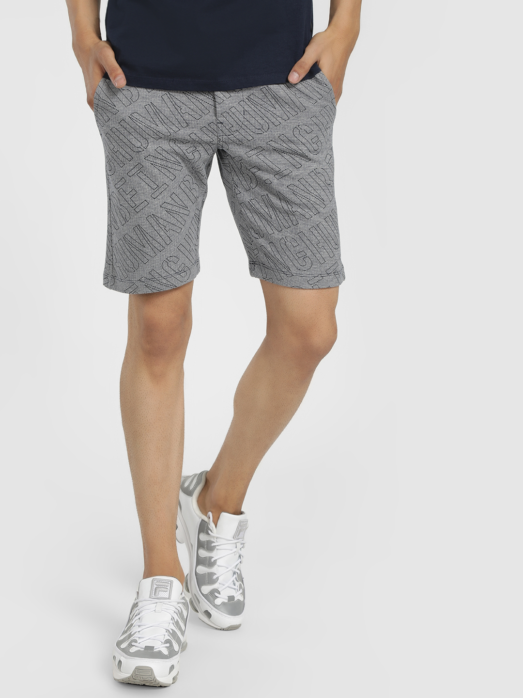 Being Human Grey Lettered Woven Shorts 1