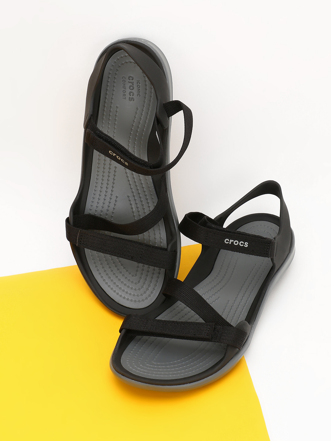 Crocs Black Swiftwater Webbing Flat Sandals 1