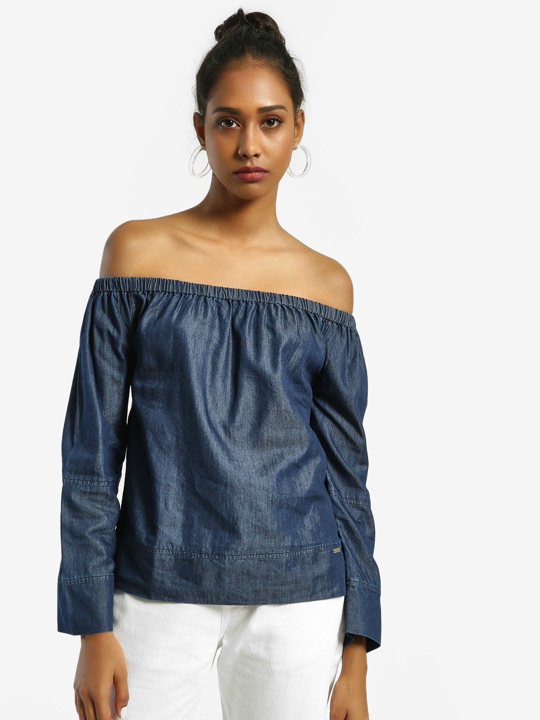 Flying Machine Blue Woven Chambray Bandeau Top 1