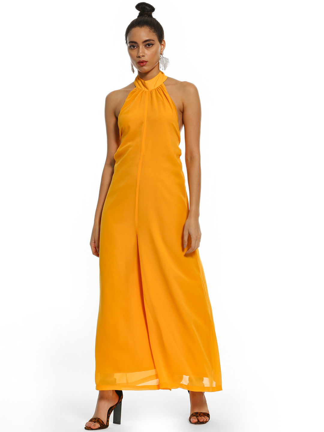 KOOVS Yellow Halter Neck Wide-Leg Jumpsuit 1
