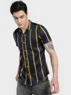 Mr Button Vertical Stripe Cuban Collar Shirt