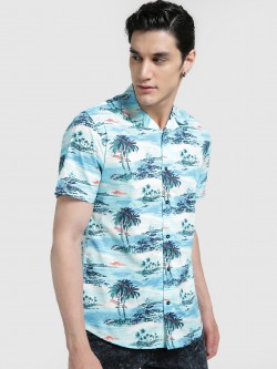 Mr Button Tropical Island Print Cuban Collar Shirt