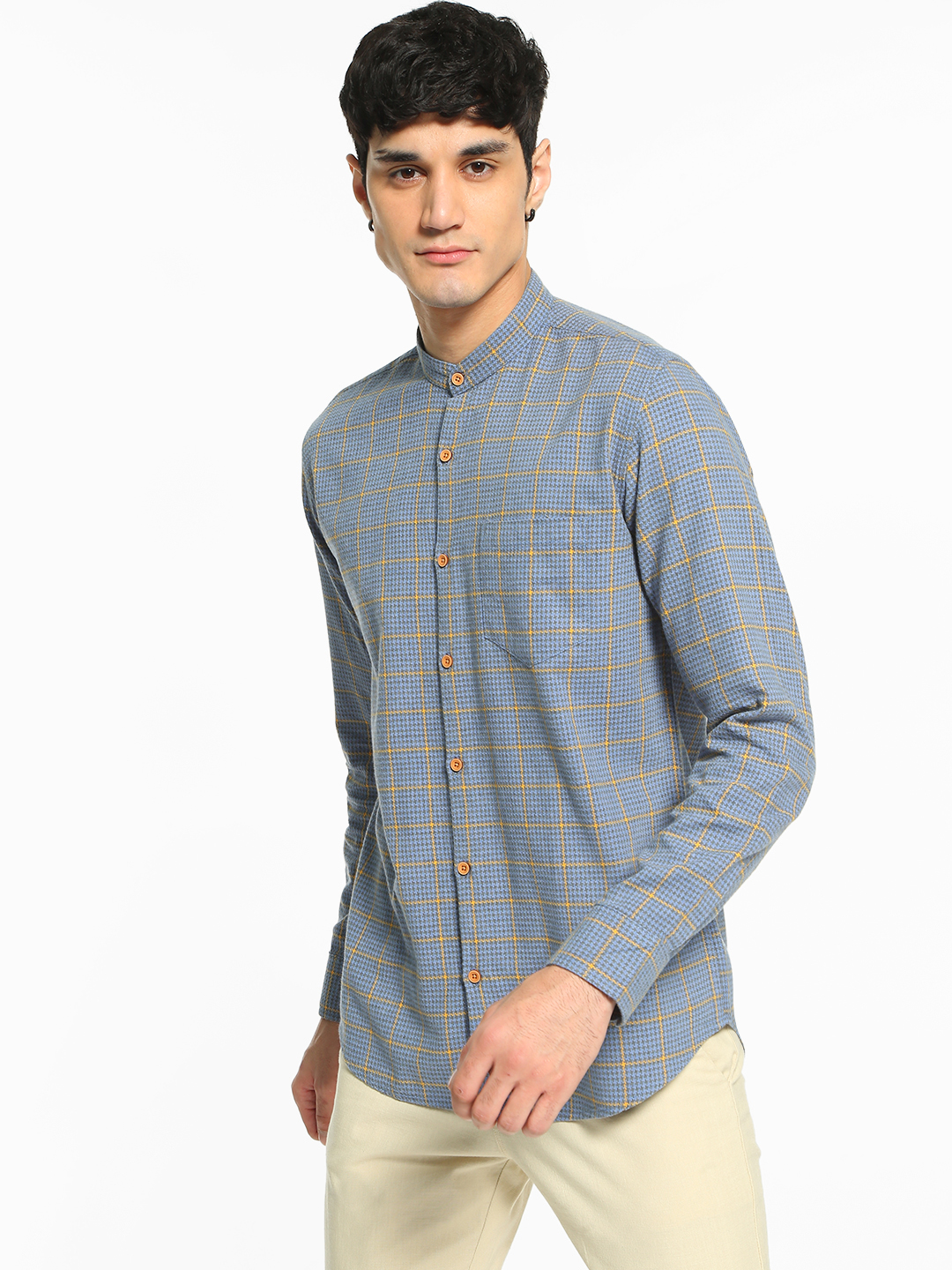 AMON Multi Woven Multi-Check Grandad Collar Shirt 1