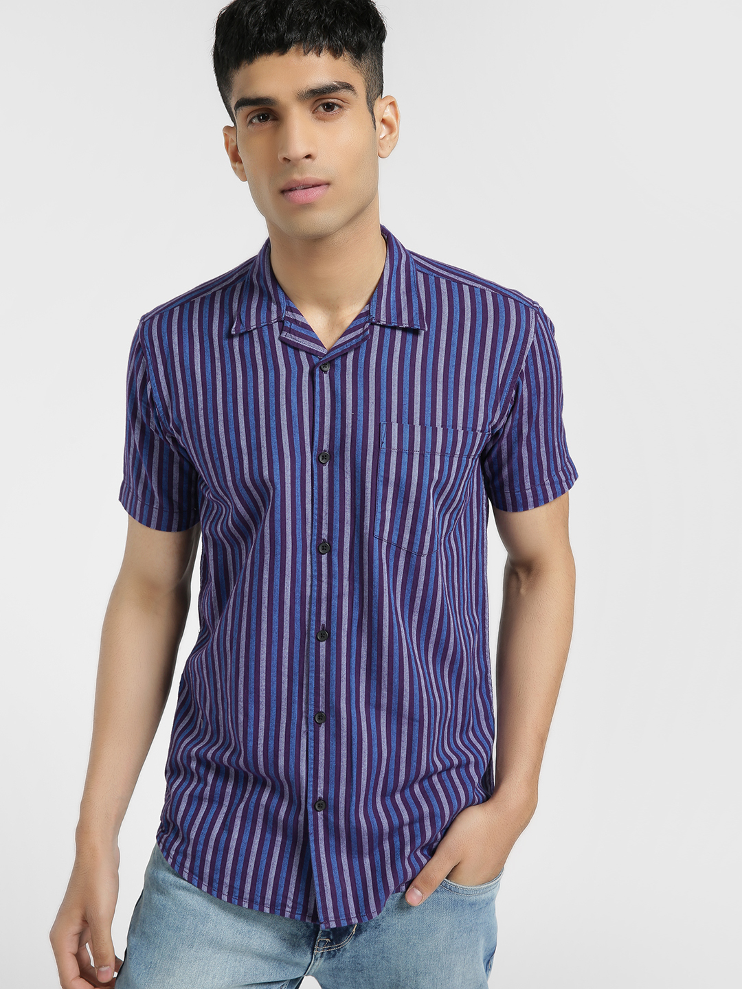 AMON Blue Woven Vertical Stripe Cuban Shirt 1