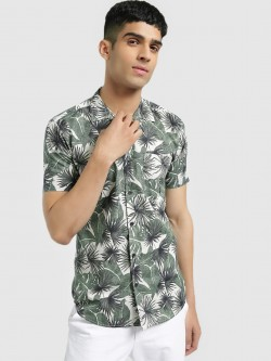 AMON Tropical Palm Print Cuban Shirt