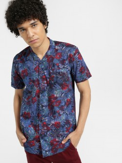 AMON Watercolour Floral Print Cuban Shirt