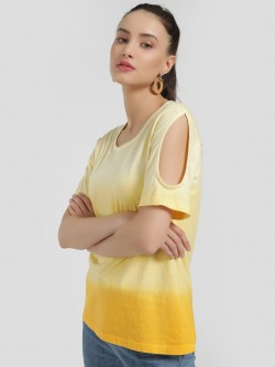 Sbuys Ombre Cold Shoulder T-Shirt
