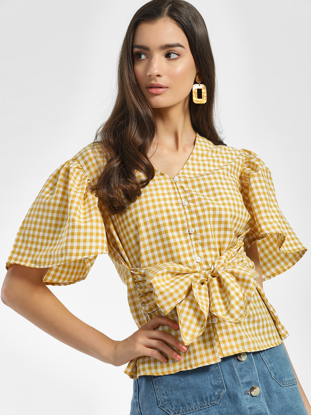 Sbuys Multi Gingham Check Waist Tie Blouse 1