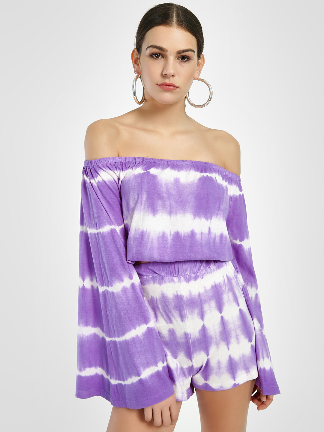 Sbuys Purple Tie & Dye Off-Shoulder Top 1