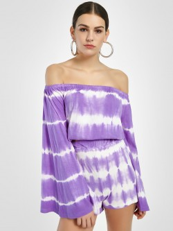 Sbuys Tie & Dye Off-Shoulder Top