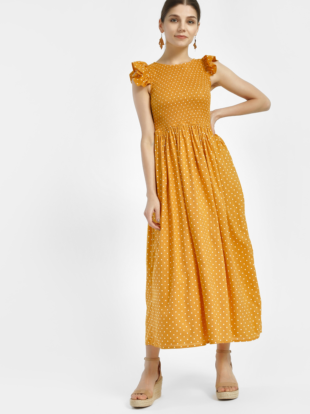 Sbuys Mustard Polka Dot Print Smocked Maxi Dress 1