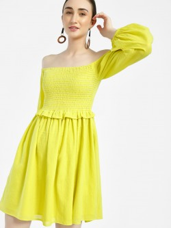 Sbuys Smock Detail Off-Shoulder Dress