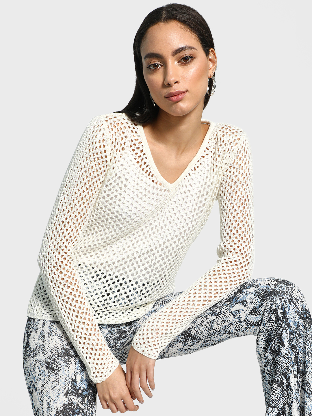 Akiva White All Over Mesh Pullover 1