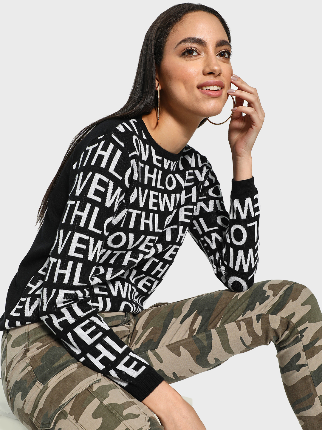 Akiva Multi With Love Text Print Pullover 1