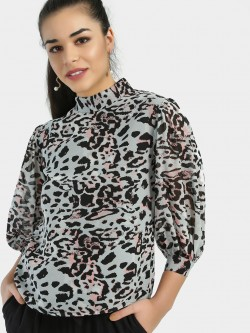 Closet Drama Leopard Print Balloon Sleeve Blouse