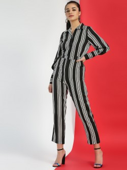 Closet Drama Striped Collar Jumpsuit