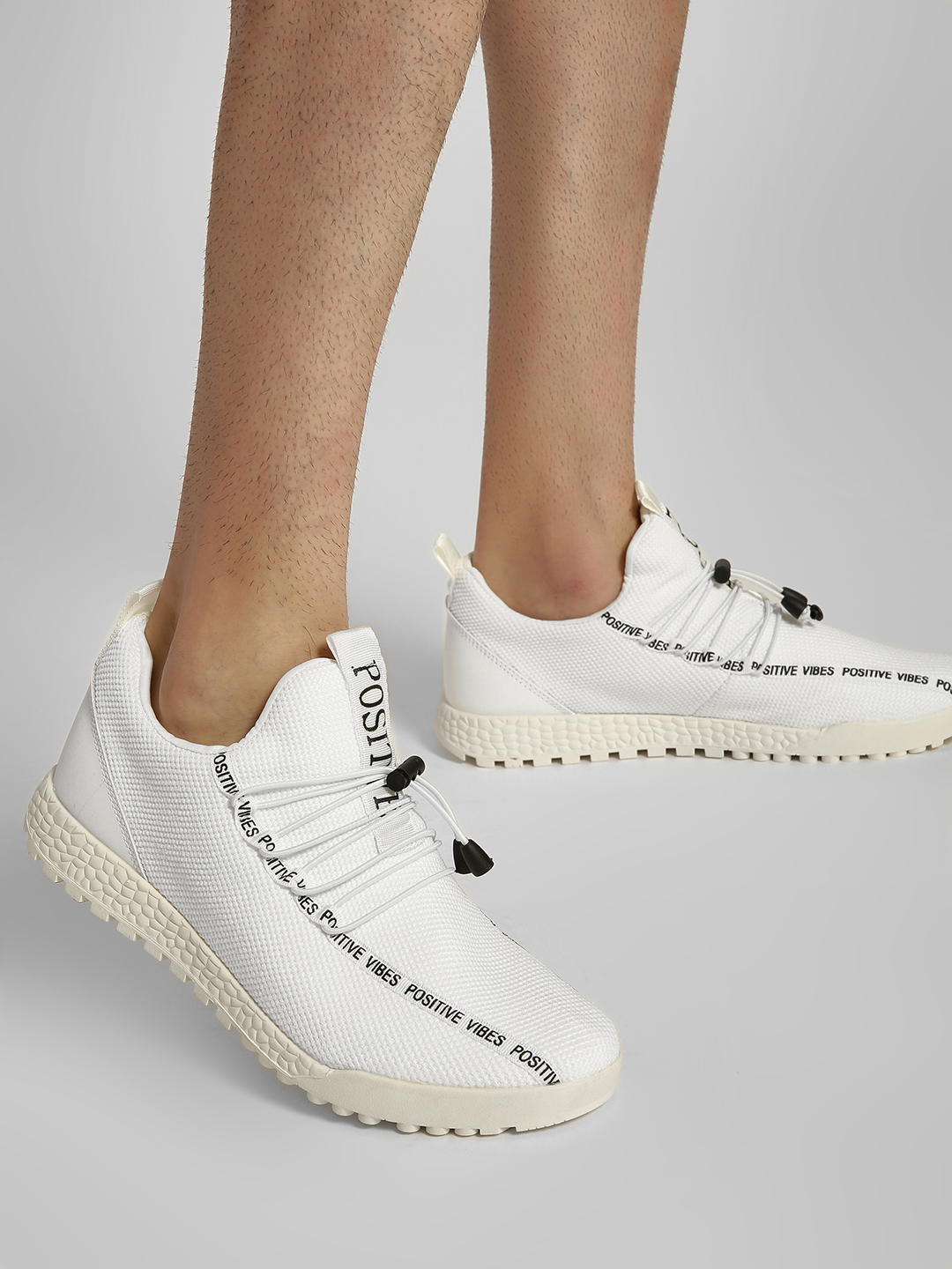 KOOVS White Positive Vibes Knitted Sneakers 1