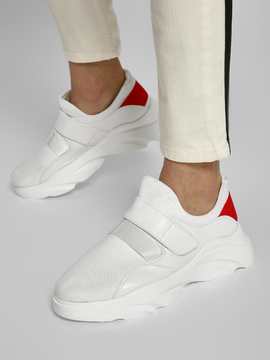 KOOVS White Knitted Chunky Sole Sneakers 1