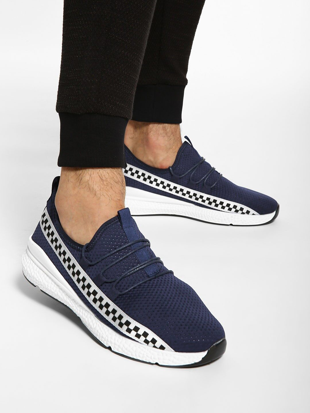 KOOVS Blue Checkerboard Print Perforated Shoes 1