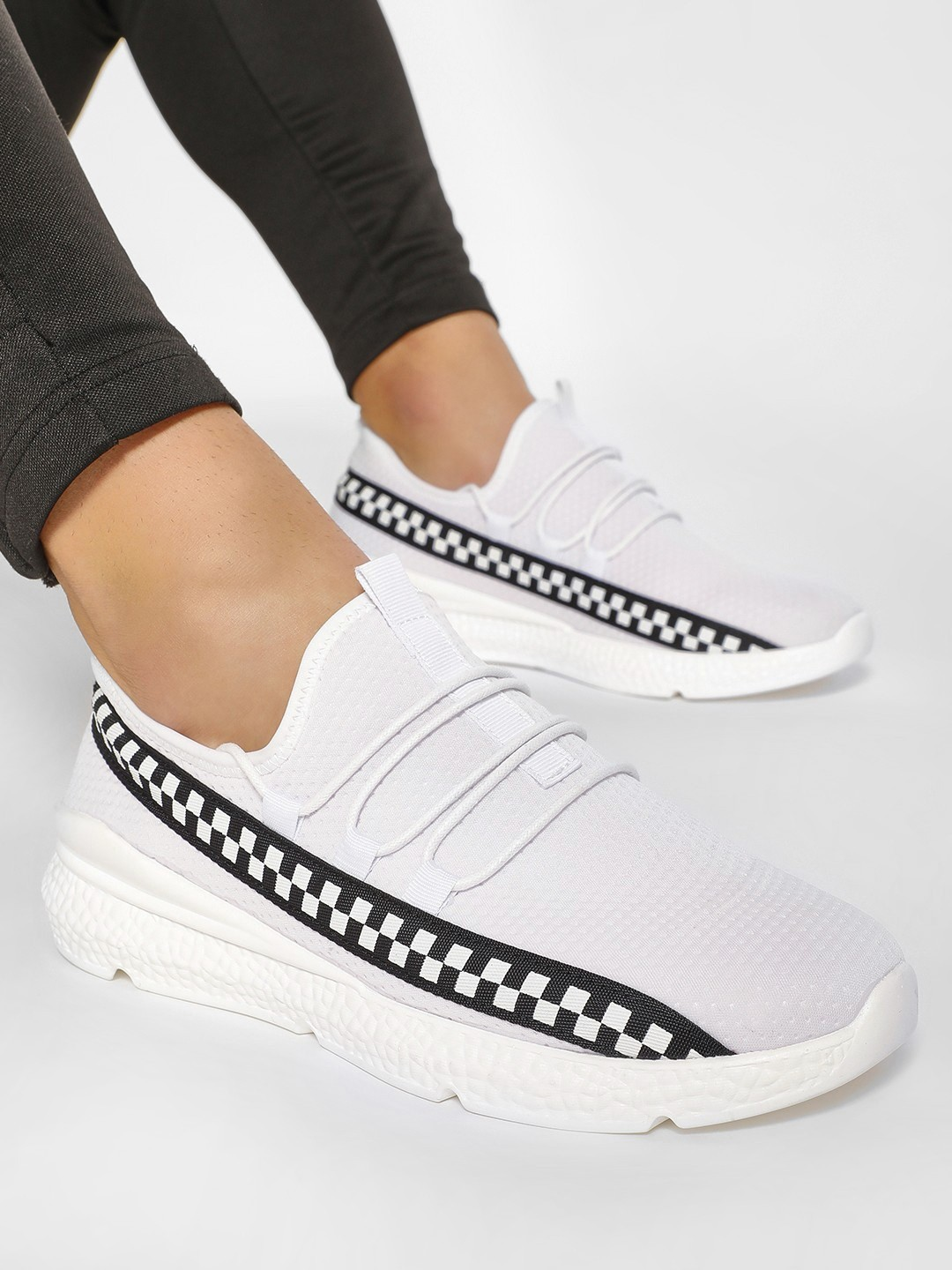 KOOVS White Checkerboard Print Perforated Shoes 1