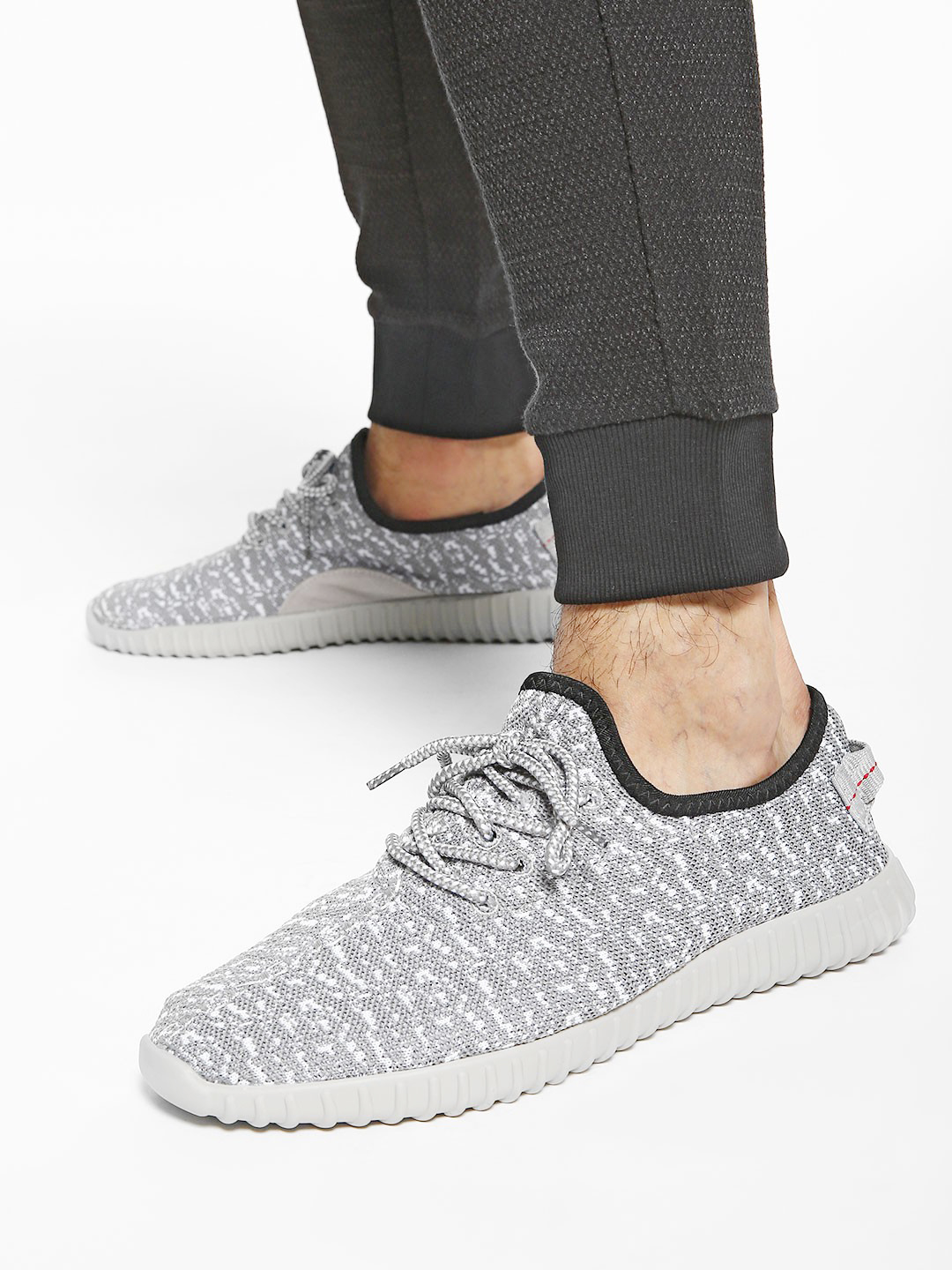 KOOVS Grey Camo Knitted Lace-Up Shoes 1