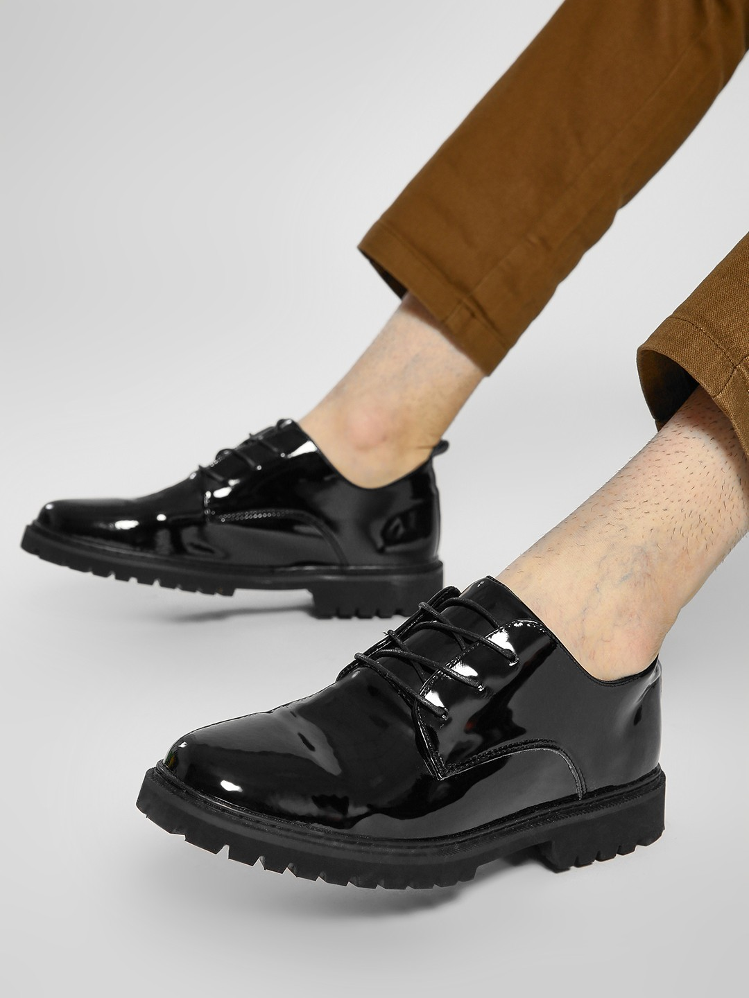 KOOVS Black Cleated Sole Patent Derby Shoes 1