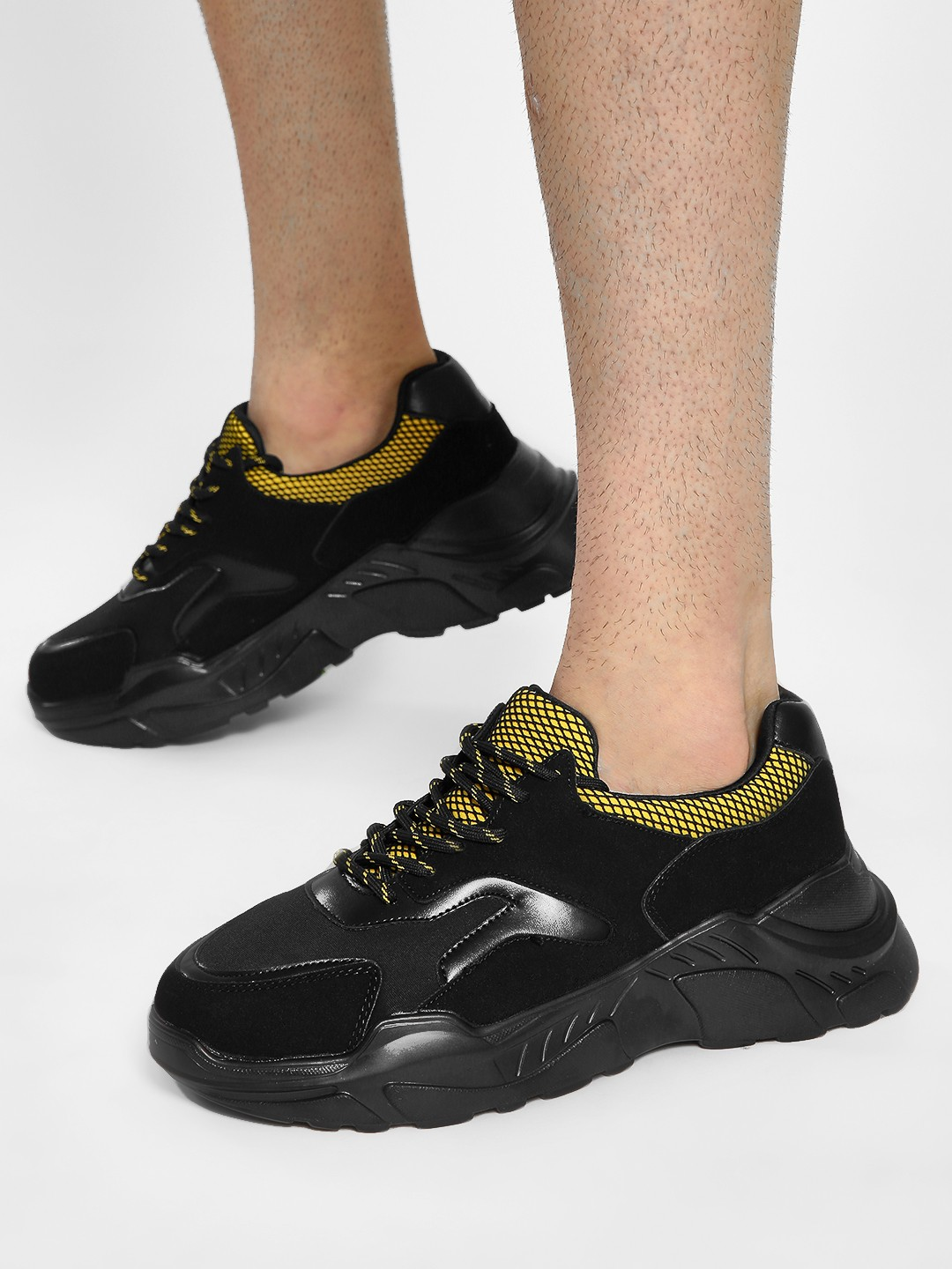 KOOVS Black Mesh Suede Cleated Sole Trainers 1