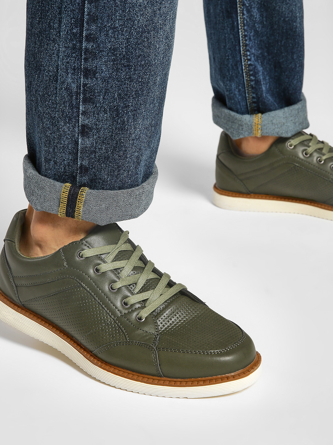 Kindred Green Panelled Gum Sole Sneakers 1