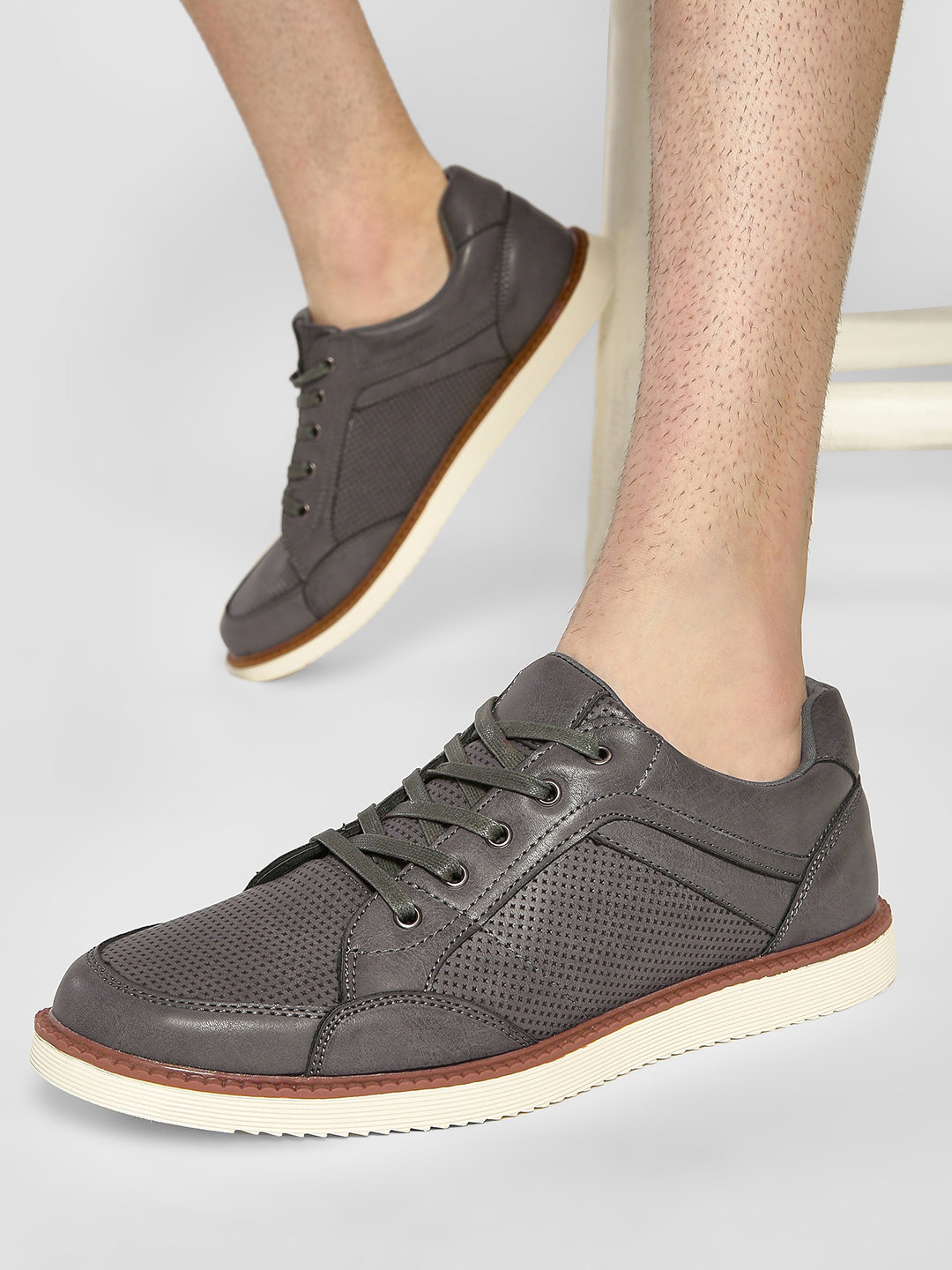 Kindred Grey Panelled Gum Sole Sneakers 1