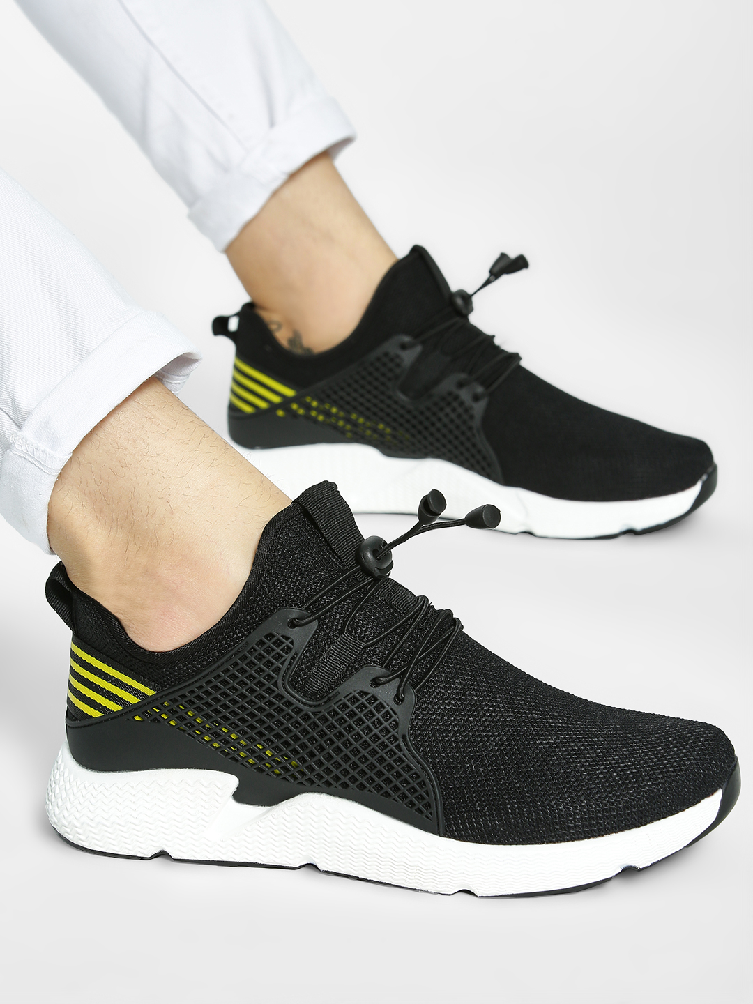 Kindred Black Contrast Tape Knitted Sneakers 1