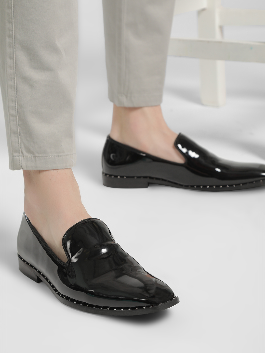 Griffin Black Studded Patent Loafers 1