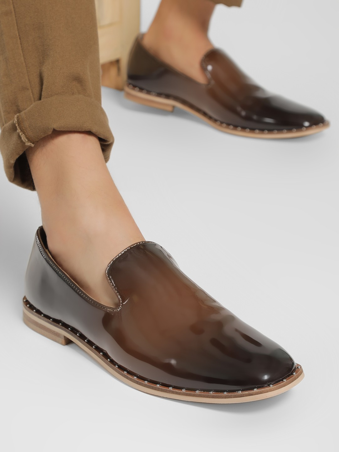 Griffin Brown Two-Tone Studded Patent Loafers 1