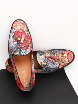Griffin Tropical Print Tassel Loafers