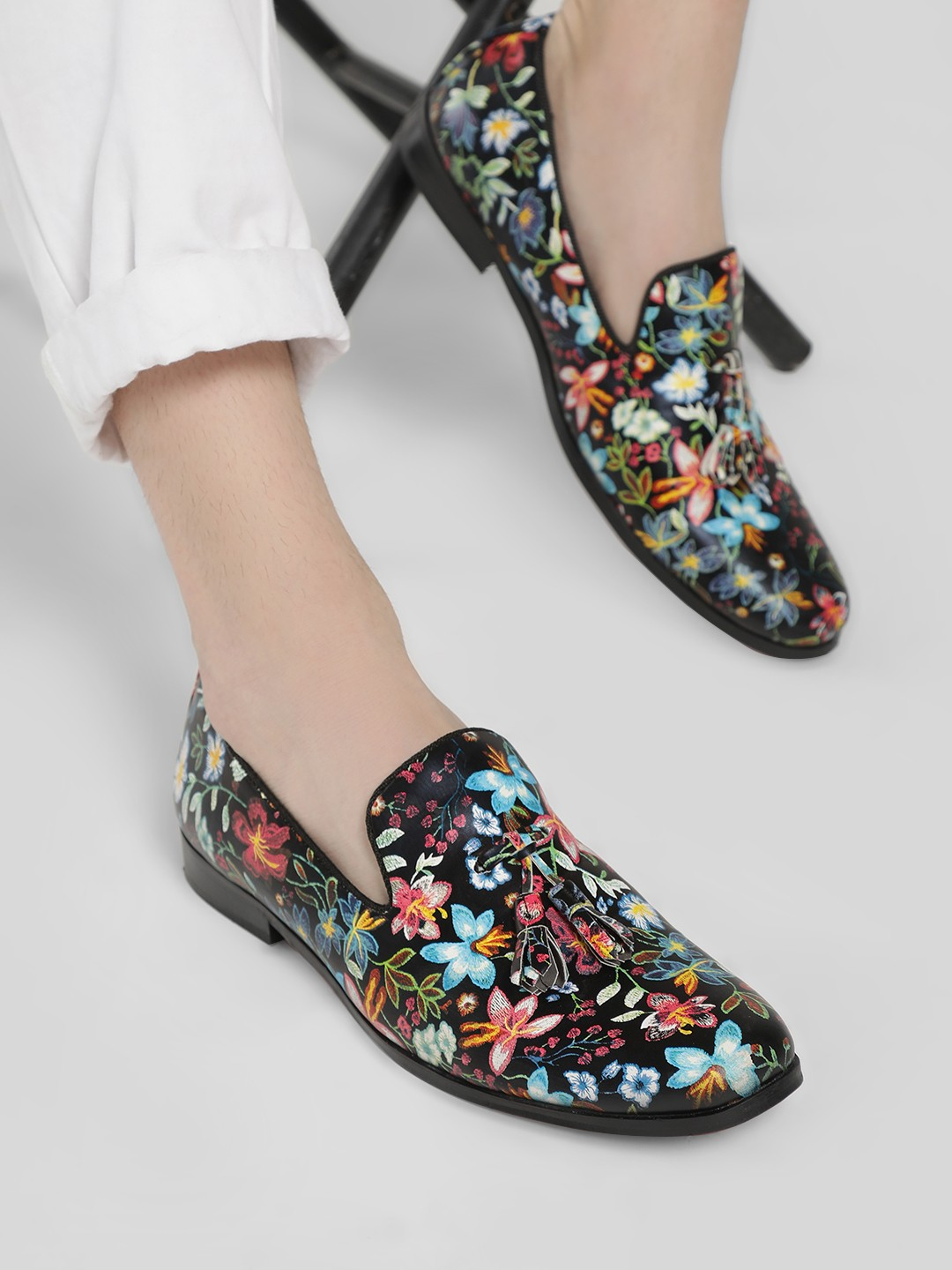Griffin Multi Floral Print Tassel Loafers 1