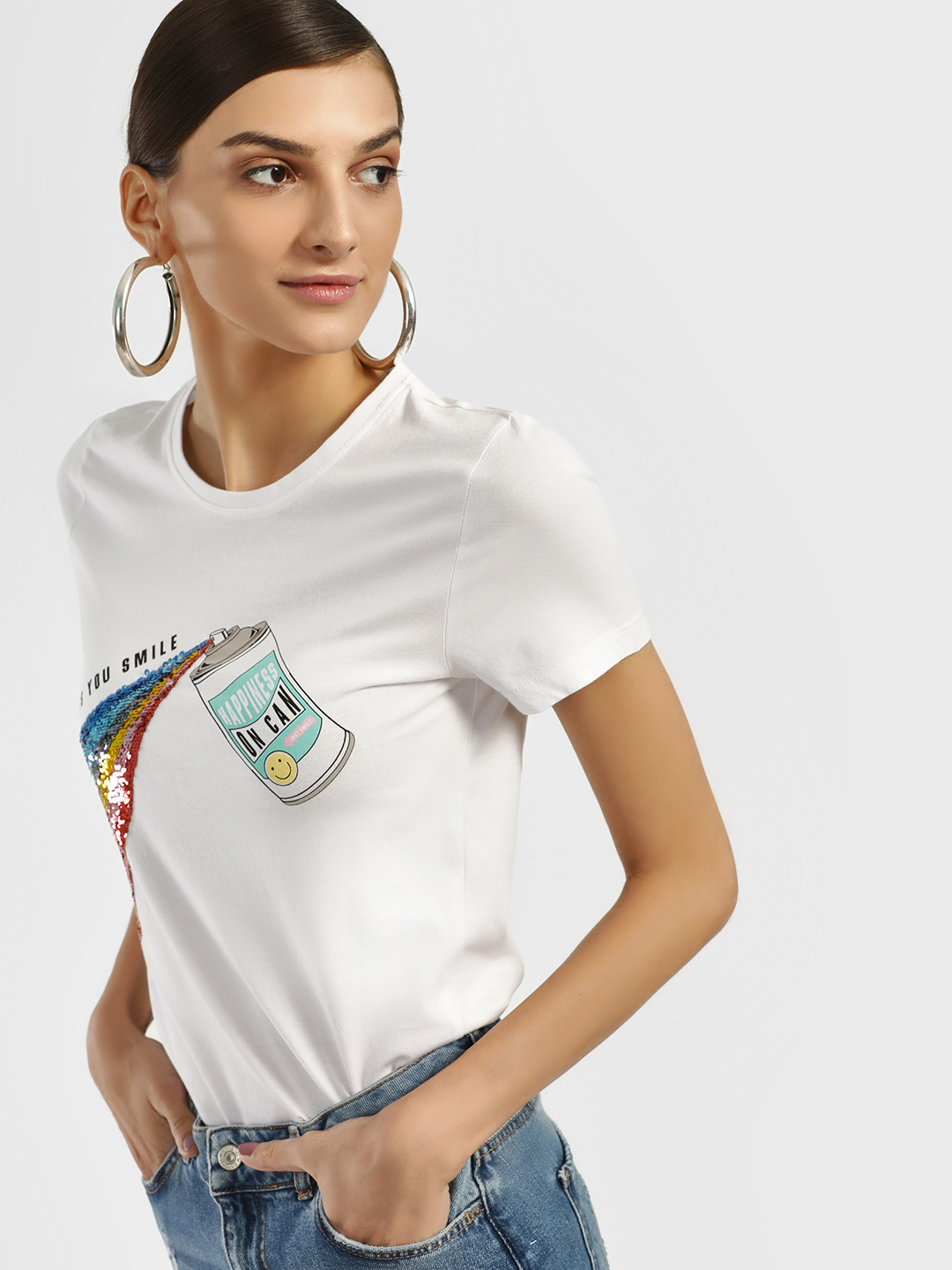 Only White Rainbow Sequin Placement Print T-Shirt 1