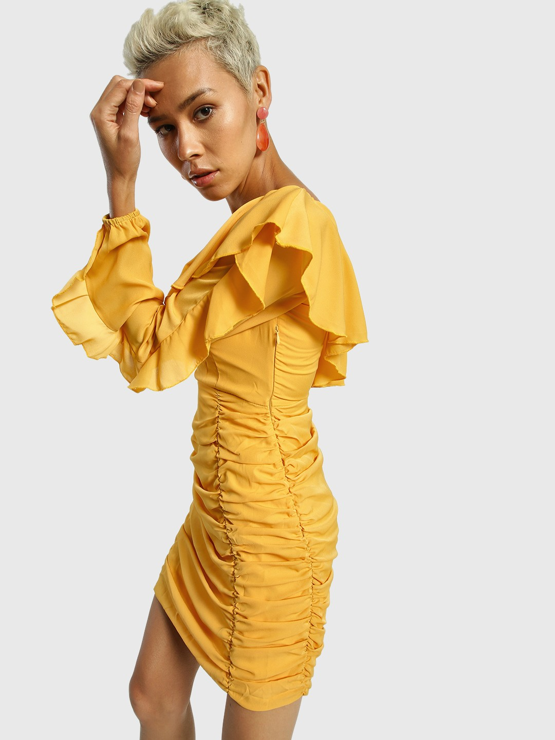 KOOVS Yellow One-Shoulder Ruched Bodycon Dress 1