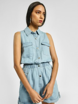 KOOVS Light Wash Denim Playsuit