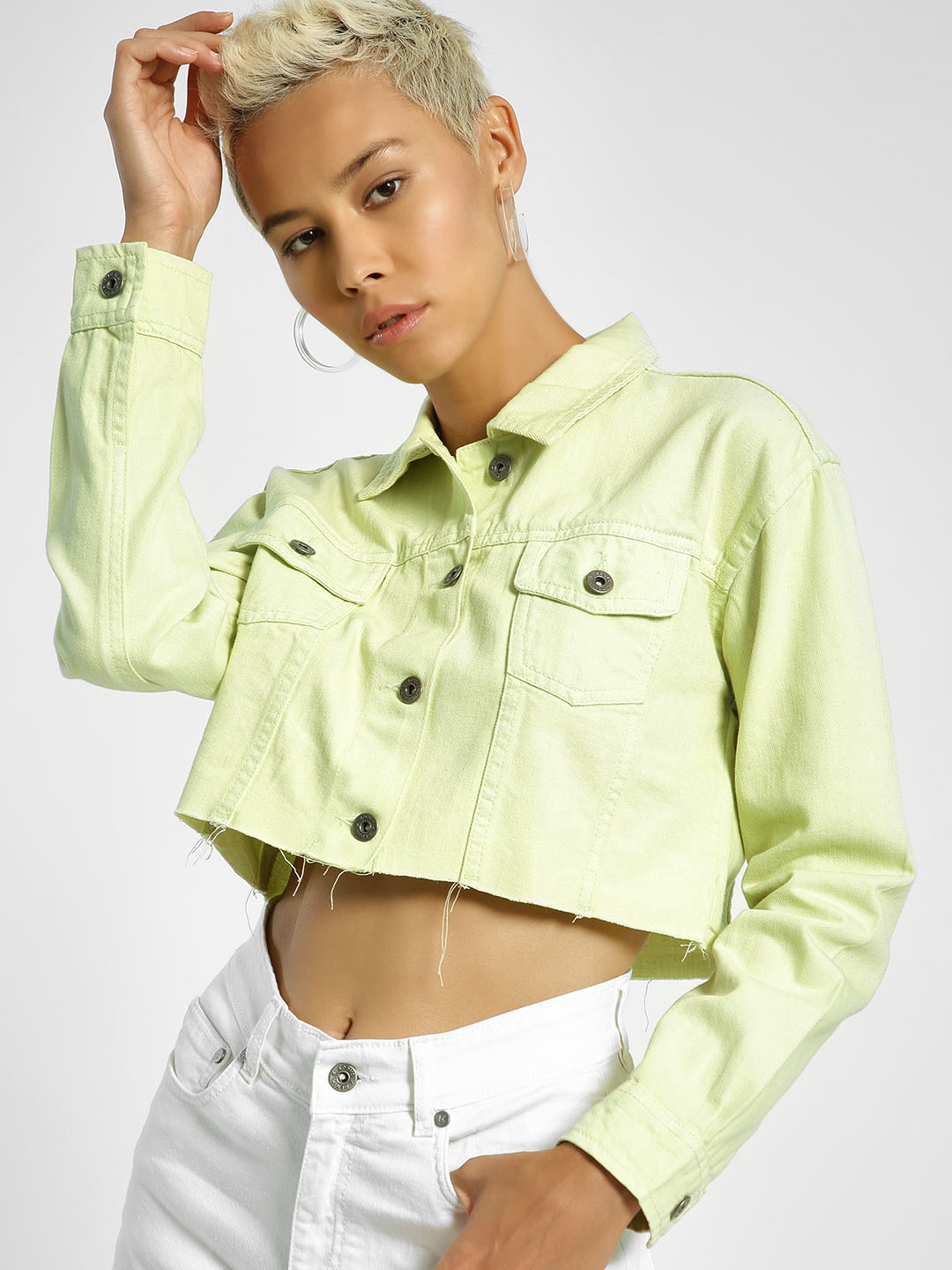 K Denim Green KOOVS Cropped Raw Hem Trucker 1