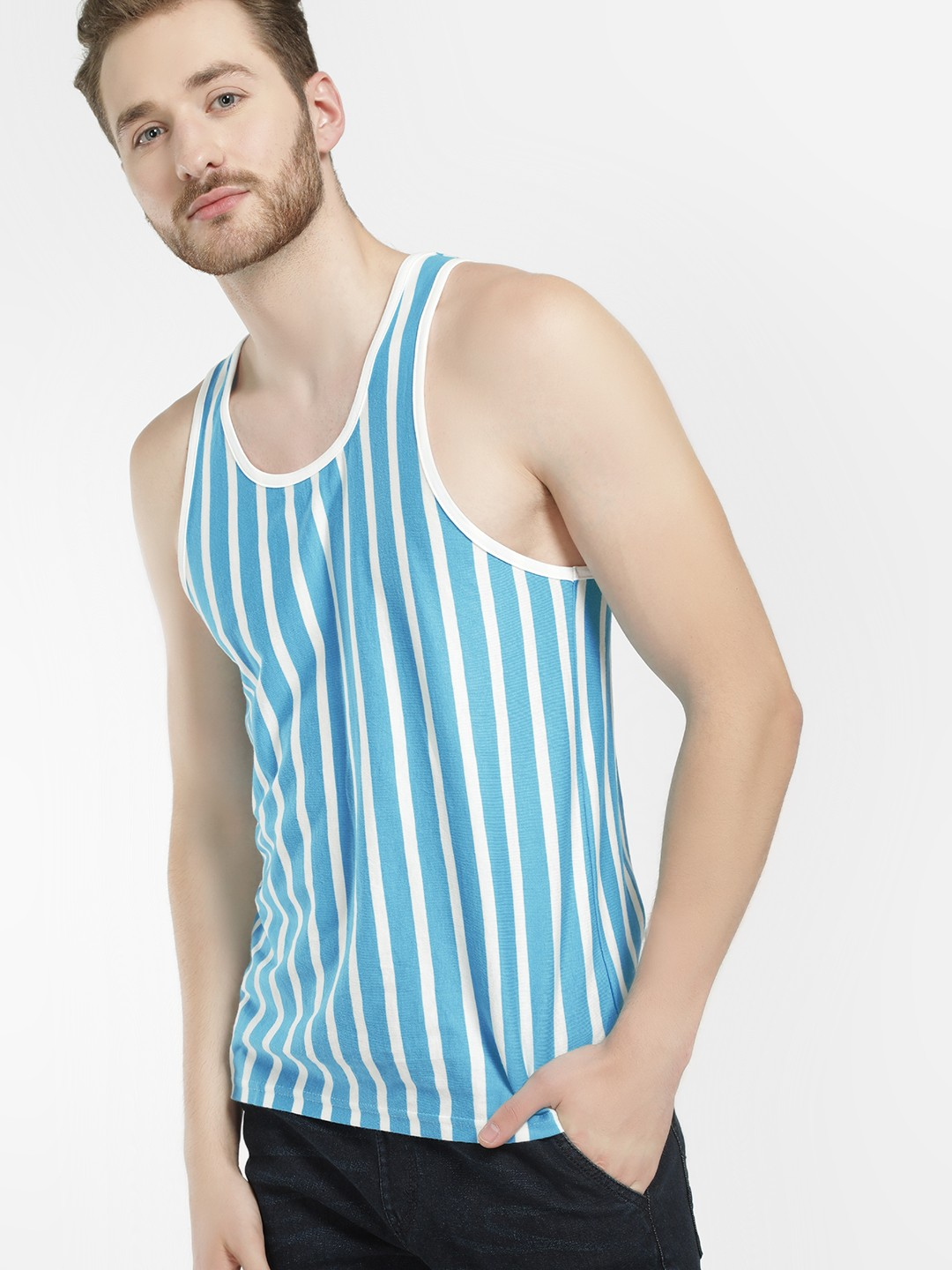 Garcon Blue Vertical Stripe Contrast  Piping Vest 1