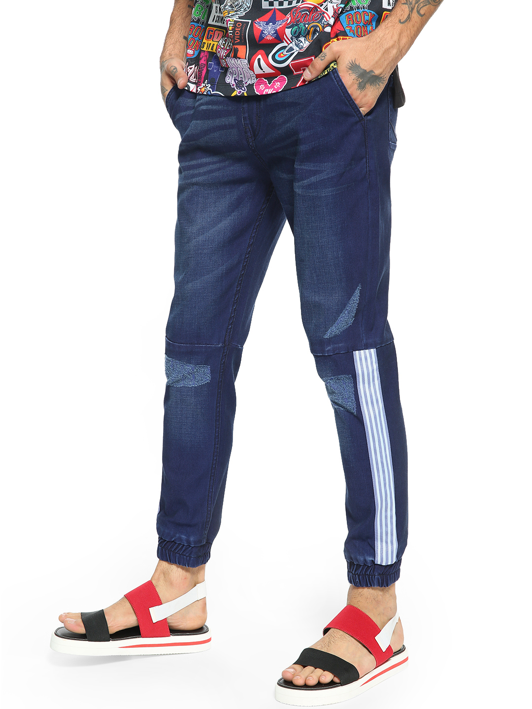 K Denim Blue KOOVS Side Tape Denim Joggers 1